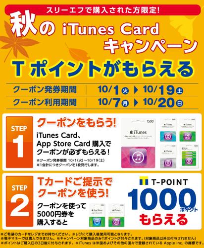 秋のiTunes Cardキャンペーン Tポイントプレゼント